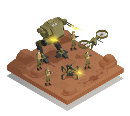 Fighting robots isometric composition with walking tank infantry stormtrooper drone decorative icons vector illustration Illustration