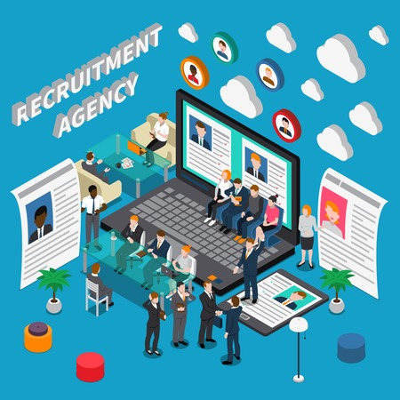 Isometric colored recruitment hiring HR management people composition with recruitment agency description