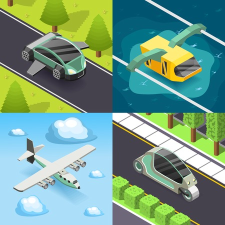 Future transport 2x2 design concept set of flying and land transport scooter and funicular square icons isometric.
