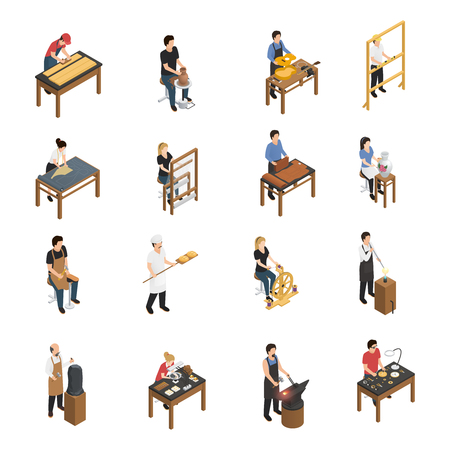 Artisan isometric set with baker glassblower carpenter tailor weaver potter shoemaker carpenter blacksmith sculptor ceramic artist figurines isolated vector illustration Çizim