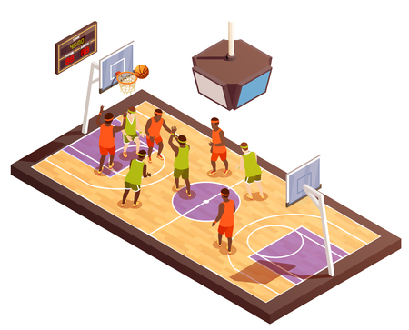 Basketball isometric composition with hardwood playground and human characters of team members with hoops and scoreboard vector illustration Illustration