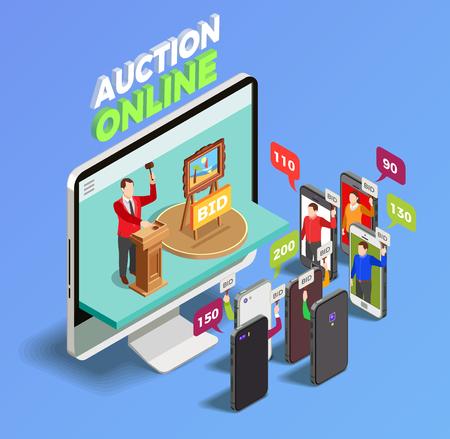 Isometrische Begriffszusammensetzung der Auktion mit dem Tischrechner und Smartphones, die in der Online-Auktion mit Gedankenblasen Maßnahmen ergreifen, vector Illustration