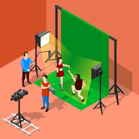 Isometric film set background with studio stage booth chroma key actors and shooting crew human characters vector illustration