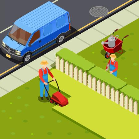 jardinier composition isométrique avec la voiture de course et deux figures de jardinier avec des ciseaux à combinaison et herbe de gazon illustration vectorielle