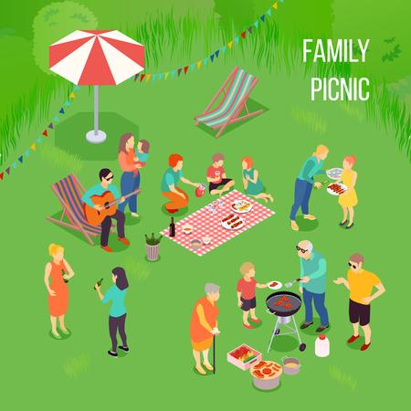 Pique-nique familial avec enfants et adultes, matériel de grill, de la nourriture sur la couverture sur illustration vectorielle isométrique fond vert Banque d'images - 88167188