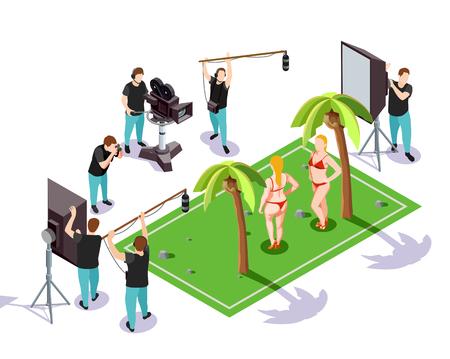 손바닥 3d 벡터 일러스트와 함께 배경에 비키니 입은 두 여자를 촬영하는 연산자 그룹과 영화 촬영 아이소 메트릭 컴포지션 일러스트