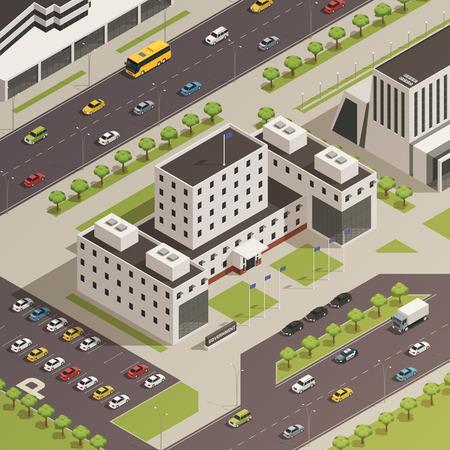 近代的な庁舎で木草の通り、駐車場等尺性組成ベクトル図で複合とその周辺地域