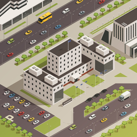 Modern government building compound and surrounding area with trees grass streets and parking lot isometric composition vector illustration