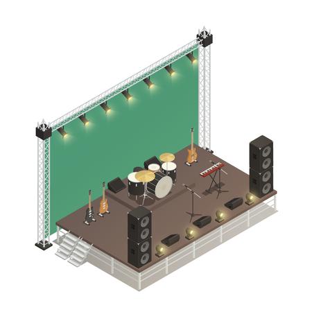 オーディオアンプとストリートパフォーマンスのためのステージのトラス構造エレキギターと打楽器アイソメベクトルイラスト