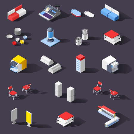 Fast food self service restaurant isometric interior set of isolated images with pieces of cafe furniture vector illustration
