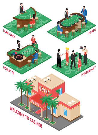 Set of isometric compositions on  casino theme with black jack roulette poker night  isolated elements vector illustration