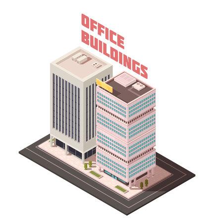 Met meerdere verdiepingen concrete bureaugebouwen met kolommen, signage op dak, groene bomen dichtbij vectorillustratie van de ingangs de isometrische samenstelling