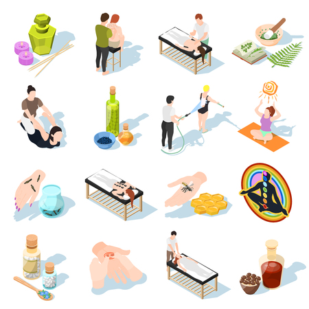 Alternatieve geneeskunde isometrische pictogrammen set van patiënten en accessoires voor aromatherapie apitherapy yoga fytotherapie hydrotherapie bloedzuigers genezing vector illustratie