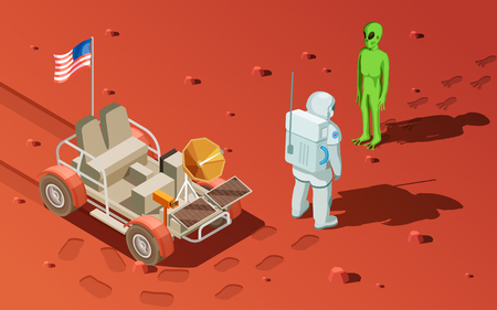 Astronauts space planet exploration isometric composition with martian landscape wheeled rover and spaceman meeting green alien vector illustration Illustration