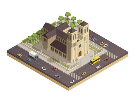 인접한 바쁜 거리 아이소 메트릭 컴포지션 벡터 일러스트와 함께 시내 중심에 건물 고전적인 기독교 성당 교회