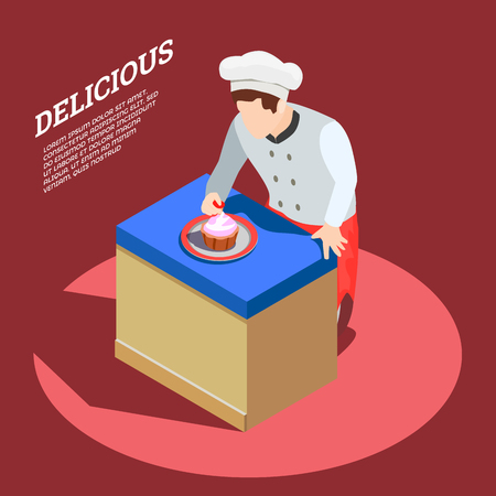 Professional cooking people chef pizzaiolo isometric people composition with faceless character of pastryman and editable text vector illustration