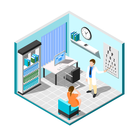 Isometric ophthalmologist composition with medical examination room interior with furniture patient and eye specialist human characters vector illustration Illustration
