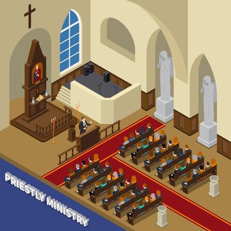 Priesterlijke bediening isometrische compositie met voorganger, zittende gelovigen, interieurelementen in de kerk.