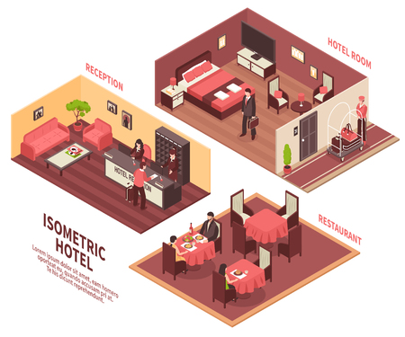 Colored isometric hotel illustration with three rooms reception hotel room and restaurant vector illustration Illustration