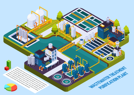 Waste water treatment purification plant with reservoir, separators, filters, pumps, isometric composition with infographic elements vector illustration Stock Vector - 88167269