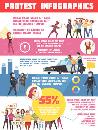 Protest actions infographics layout with statistic about motivation of protest movement and riot police protecting law and order flat vector illustration