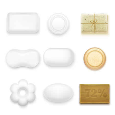 Realistic soap bars of different shape and color isolated on white background Illustration