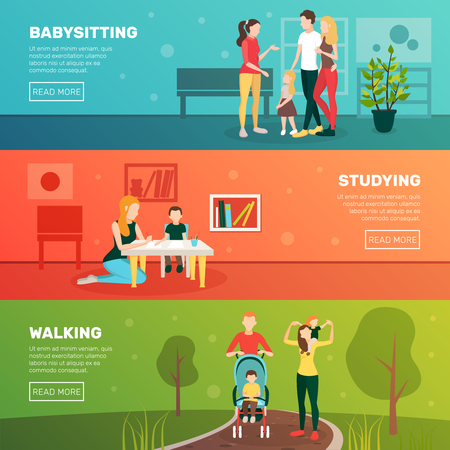 Babysitters people flat horizontal banners set with family human characters parents and children with read more button vector illustration