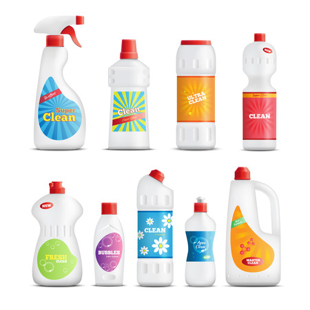 Detergent bottles realistic identity collection with branded packaging of home care products for toilet bathroom cleaning vector illustration