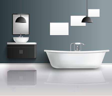 バスルーム家具インテリア現実的な成分は現代浴室の設備。