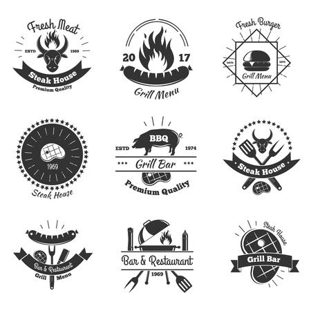 Steakhouse vintage emblems collection with flat monochrome images of kitchenware.