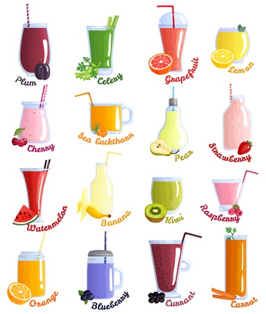 Colored and isolated smoothie cocktails icon set with different flavors.