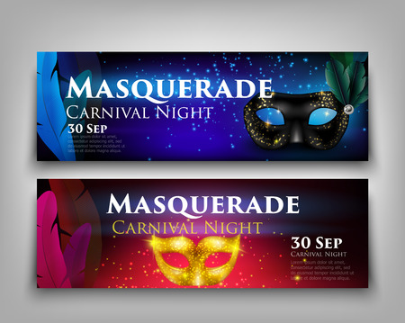 Masquerade invitation party horizontal banners set with sparkling golden and black masks isolated on grey background realistic