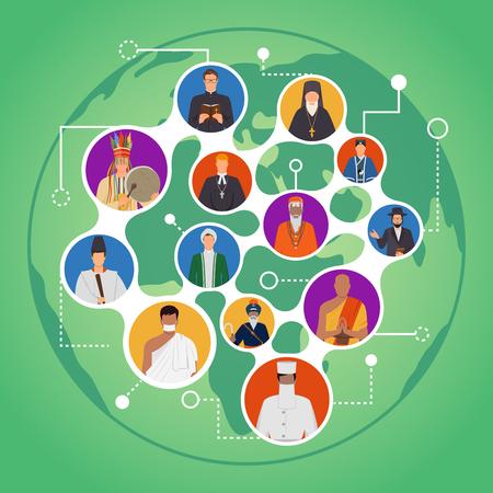 Communicatie van mensen van de samenstelling van wereldgodsdiensten met portretten van geestelijke leiders op groene achtergrond Stock Illustratie