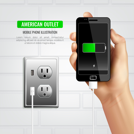 Colored stylish american outlet mobile phone composition with charging the black phone vector illustration