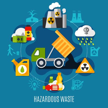 산성비 기호 평평한 폐기물 및 오염 개념