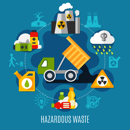 Waste and pollution concept with acid rain symbols flat