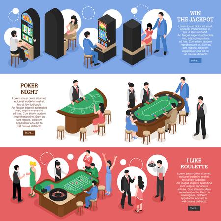 獲得ジャック ポット ポーカー夜とルーレット デザイン概念ベクトル イラストのカジノ等尺性の水平方向のバナー セット