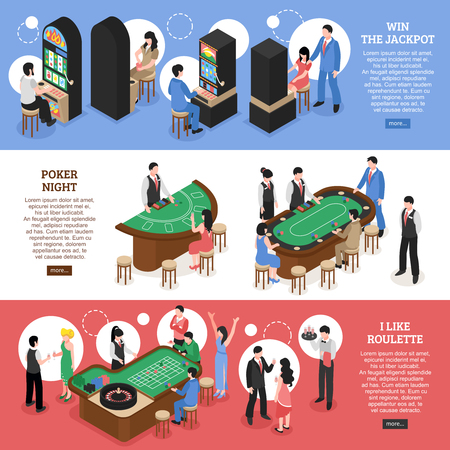 Casino isometric horizontal banners set of win jackpot poker night and roulette design concept vector illustration Illustration