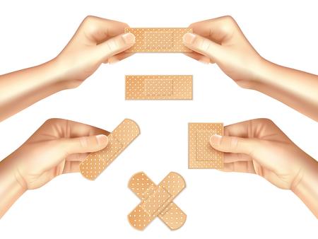 Handen die beige medische pleister van diverse vorm realistische reeks op lichte achtergrond geïsoleerde vectorillustratie houden