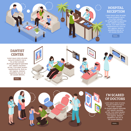 Dental center horizontal banners with hospital reception doctors office and scared patients isometric vector illustration