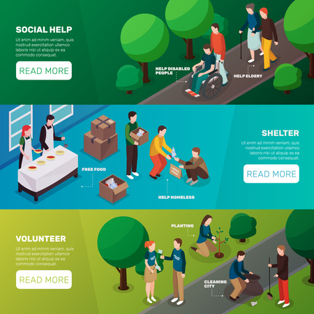 Banners isométricos de personas voluntarias de caridad conjunto con imágenes que representan el texto editable de actividades de voluntariado y leer más ilustración de vector de botón Foto de archivo - 88232400