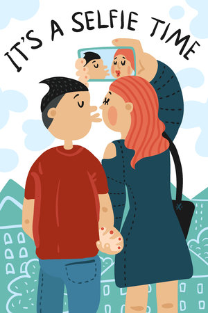 Selfie time composition with loving couple making photo on city background with clouds from hearts vector illustration