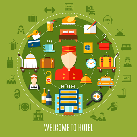 Welcome to hotel round set with flat icons imaging transfer accommodation and restaurant services