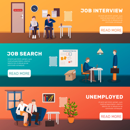 Unemployed people three flat banners set with image compositions editable text title and read more button vector illustration Çizim