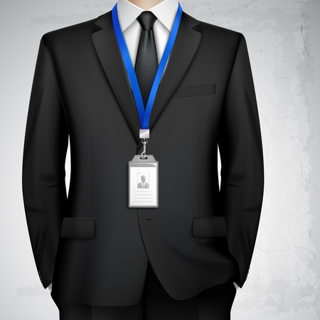 Dressed in black suit businessman with id card badge holder on blue lanyard realistic image