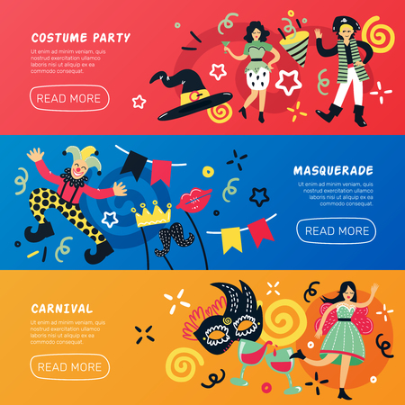 Costume party doodle banners collection with drawn style people characters decorations text and read more button vector illustration