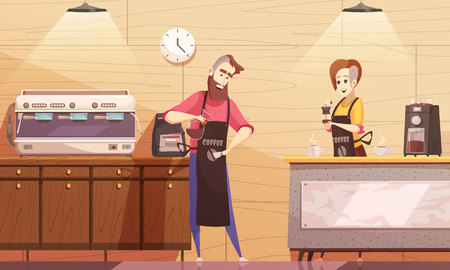 Coffee house vector illustration with barista and barmaid standing near coffee machine and holding brewed drink 向量圖像