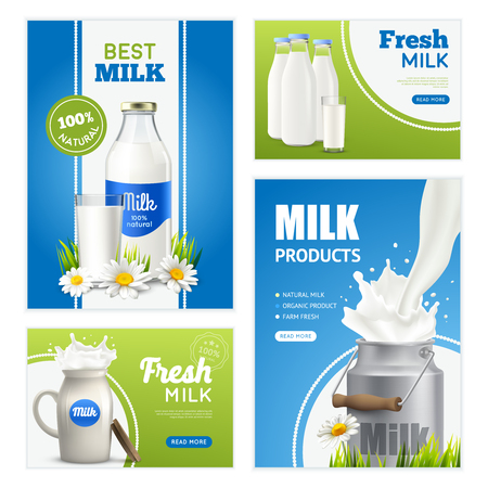 Milk product vertical banners set with branded milk bottles cream can flowers images and editable text vector illustration