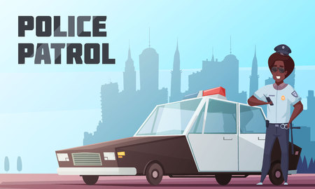 Police patrol cartoon  illustration with officer standing near police car with special beacon on city background