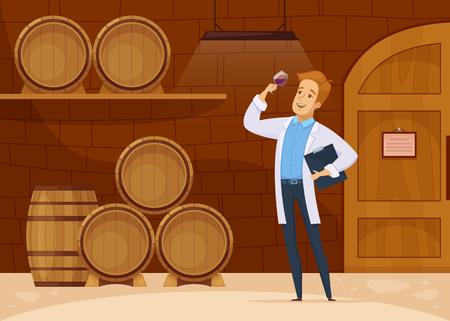 Weingutproduktion mit Winzer im Speicherkeller, der Weinalterung in der Karikaturzusammensetzungsvektorillustration der Eichenfässer verkostet Standard-Bild - 88256630